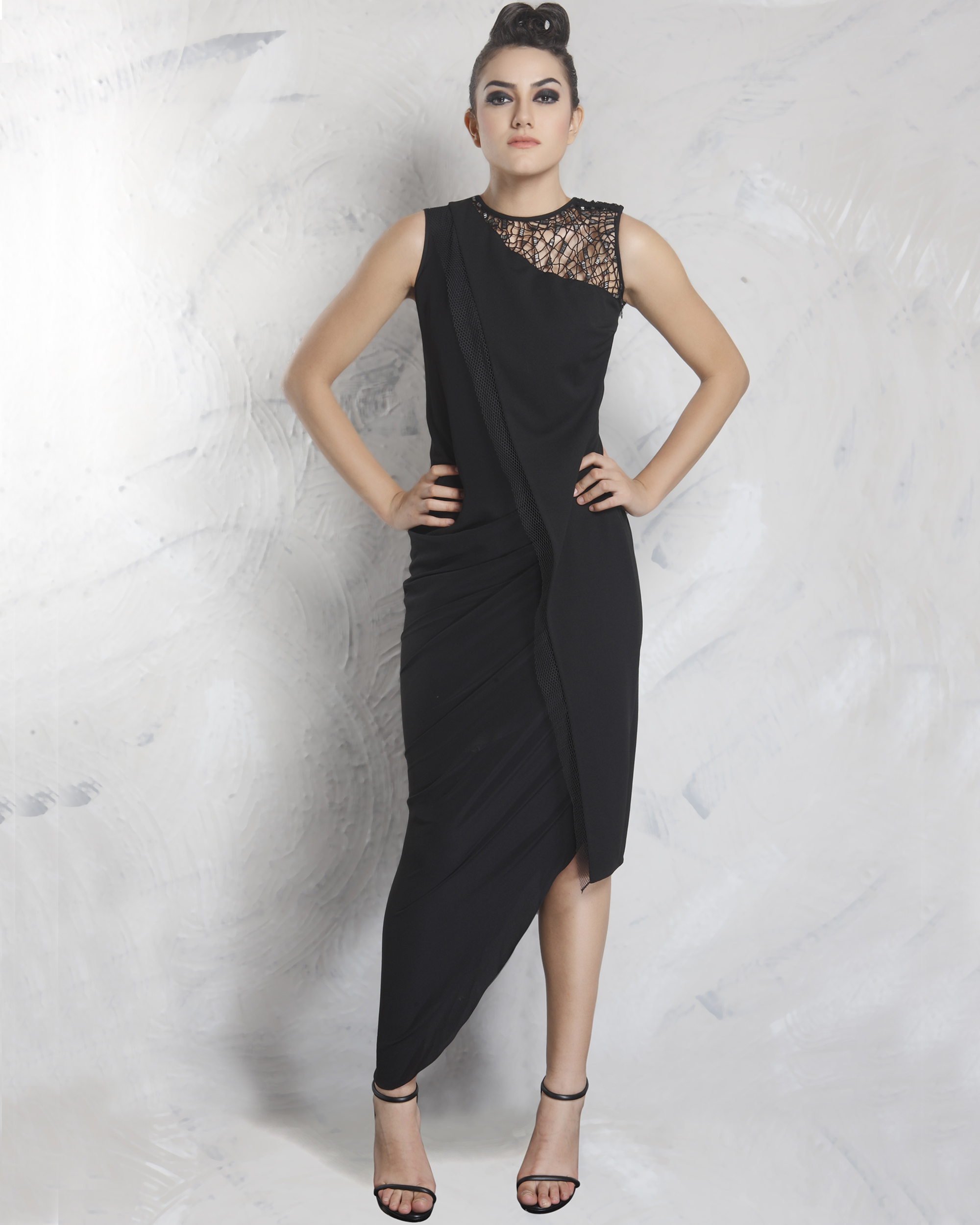 Spade black drape dress