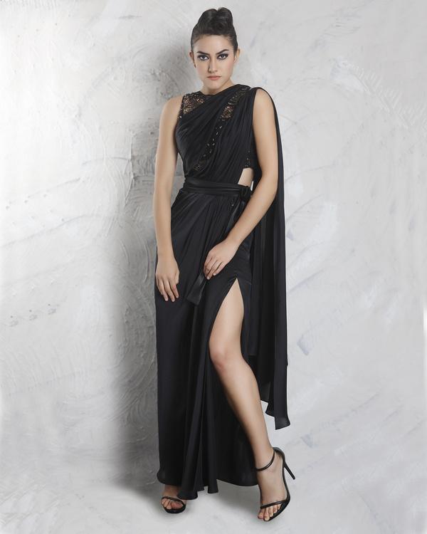 Spade black drape saree with crop top