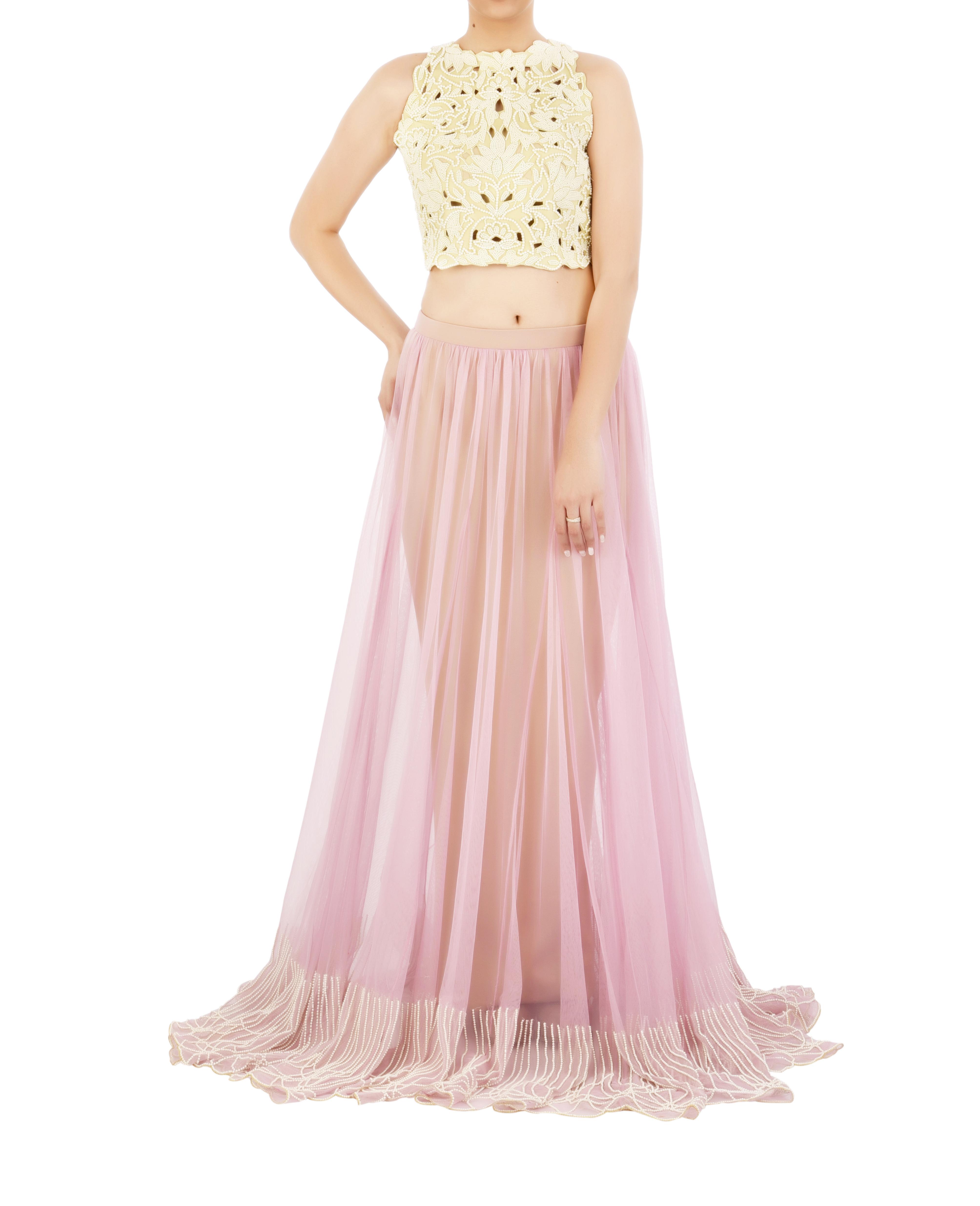 Lilac lehenga skirt with pearl embroidered border