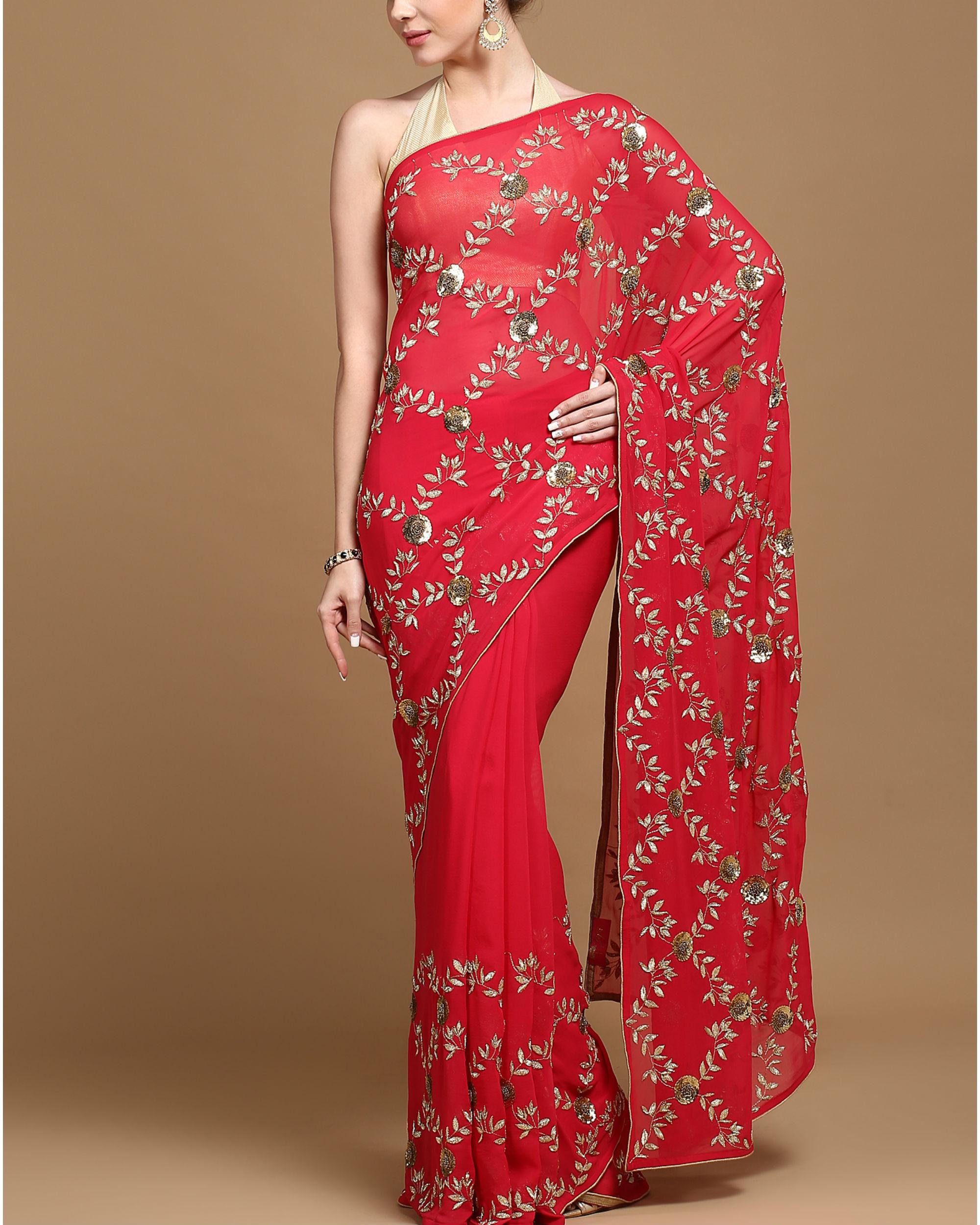 Floral trellis sari