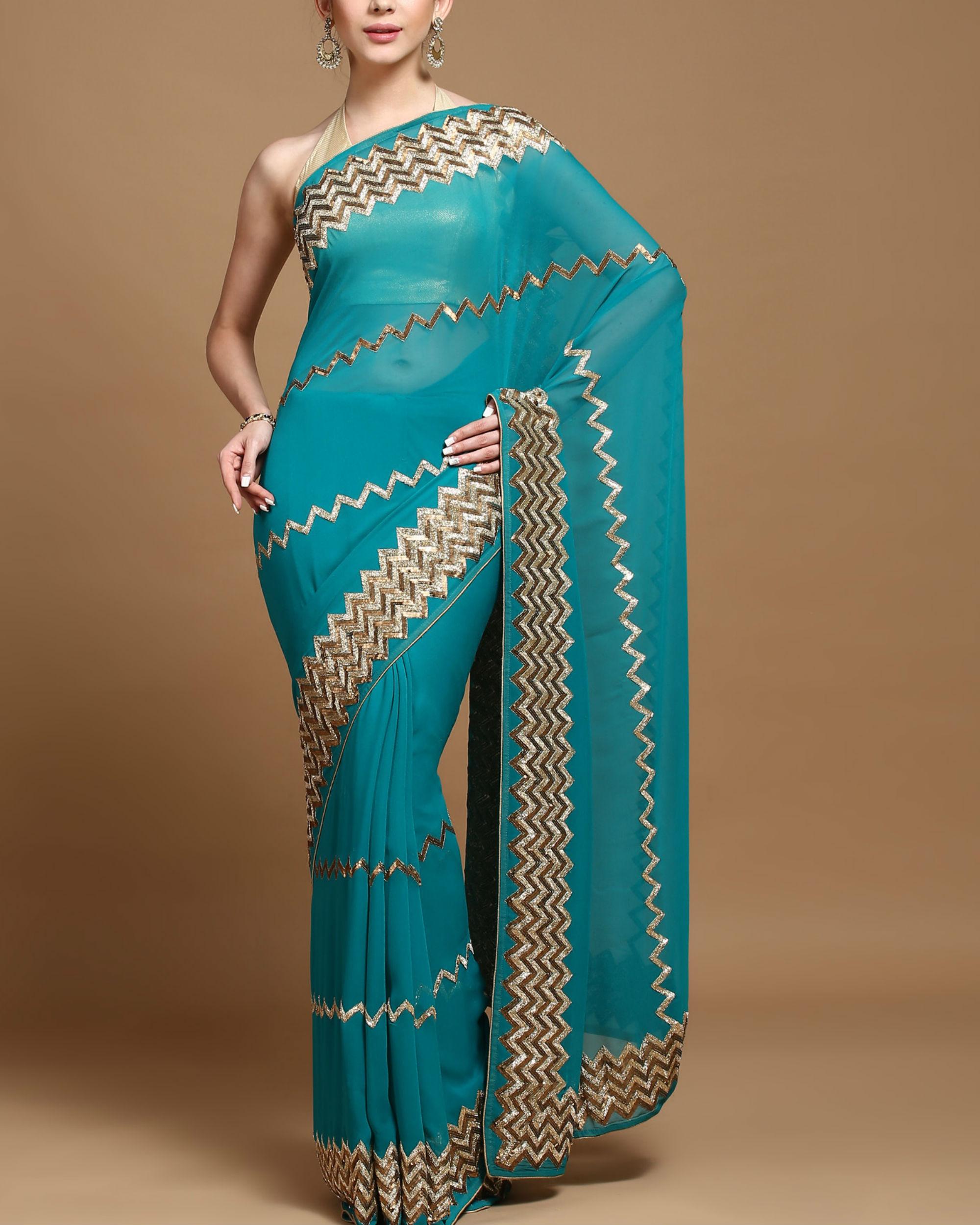 Zigzag panache sari