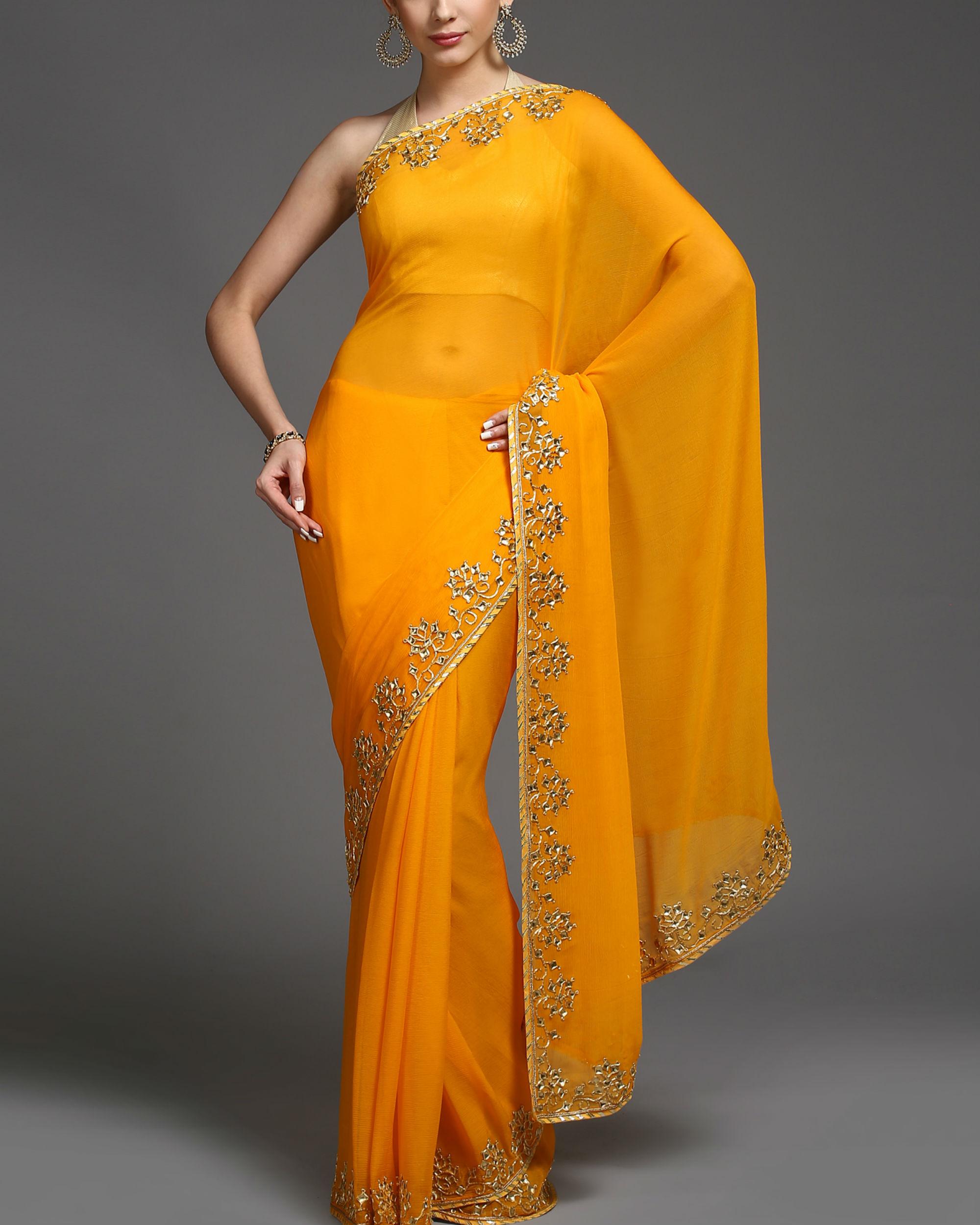 Saffron and gold sari
