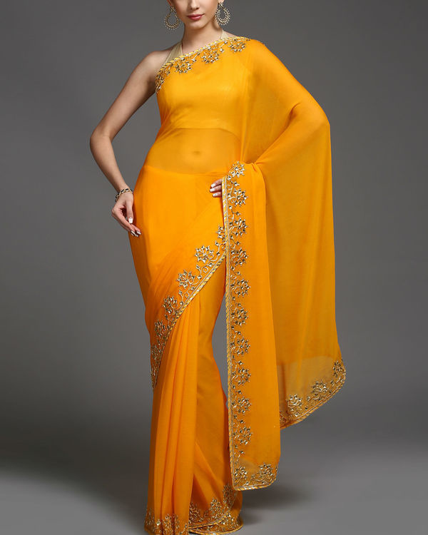 Saffron and gold sari