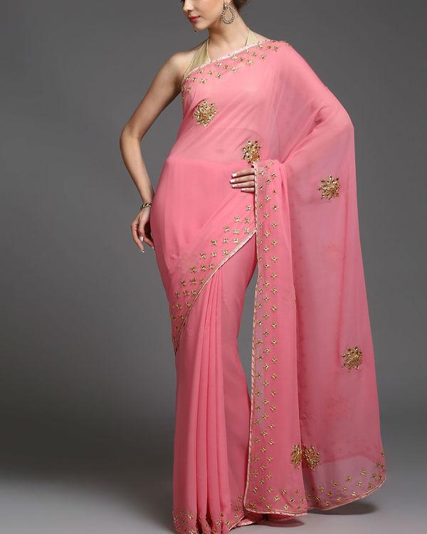 Pink gold sari