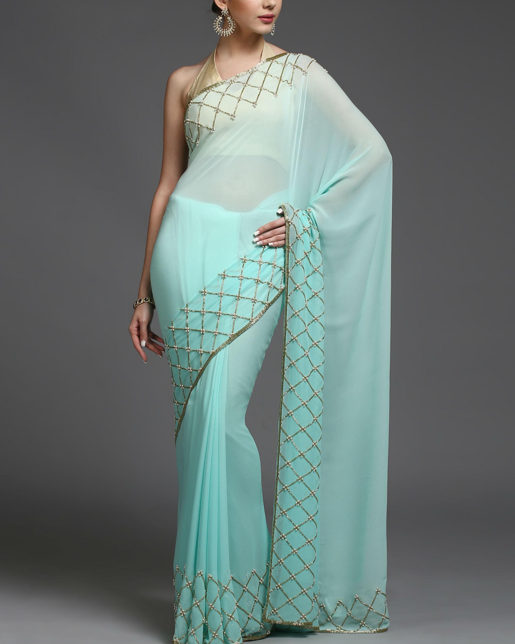 Aqua gold sari