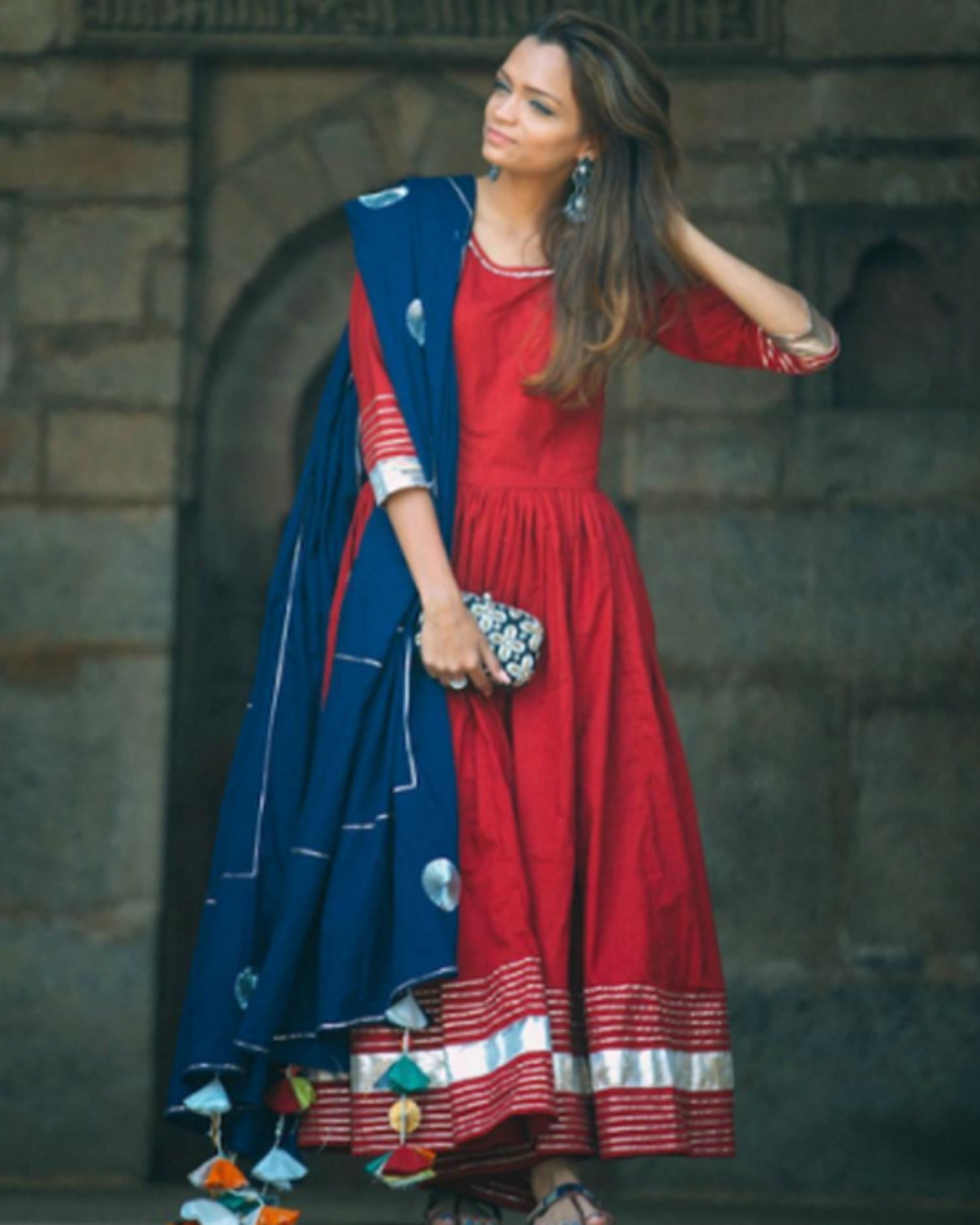 Maroon gota work anarkali set