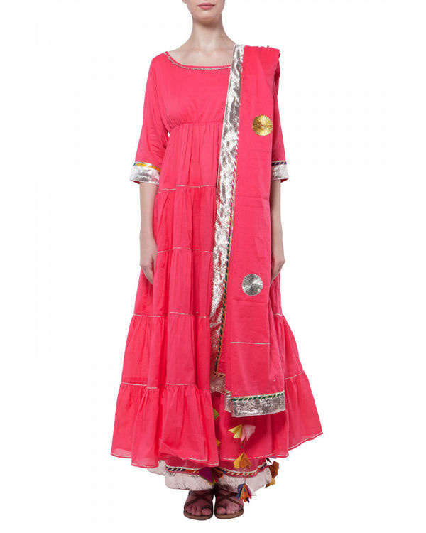 Coral gota work anarkali set
