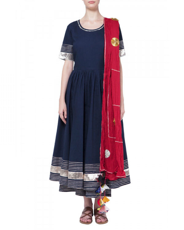 Navy blue gota work anarkali set
