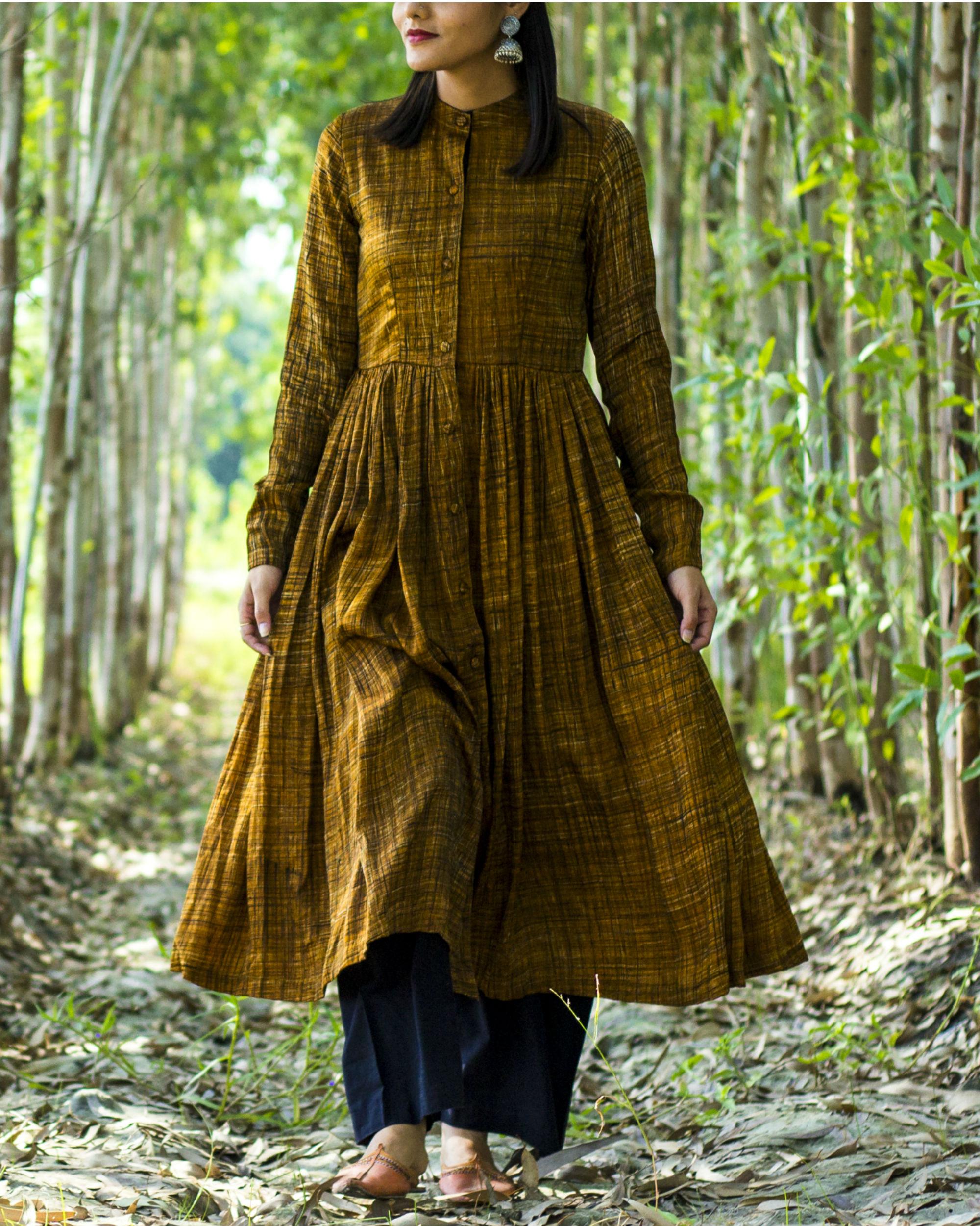 Mustard modal silk dress