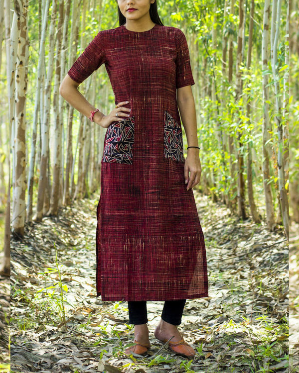 Brick kurta with pockets