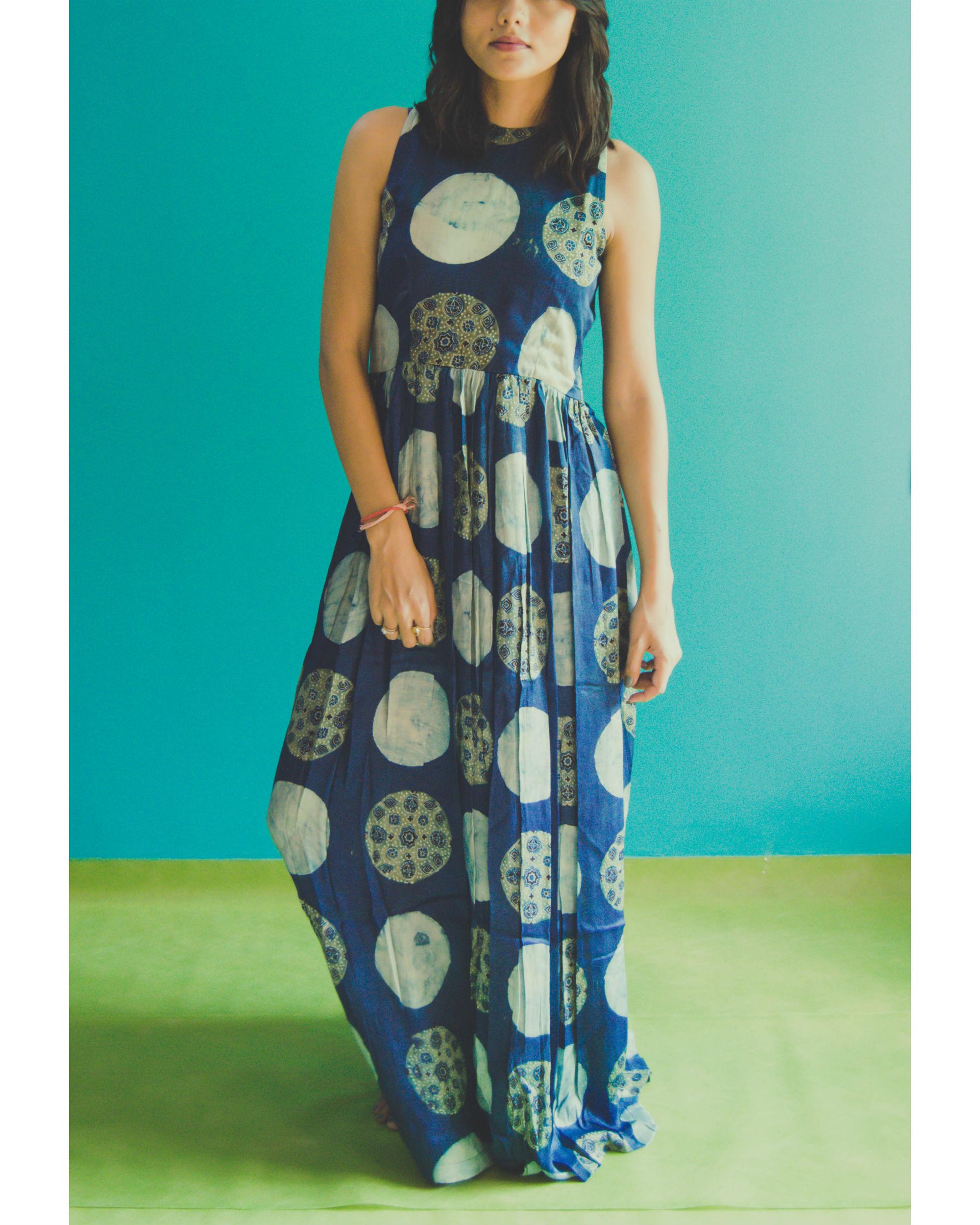 Blue circle ajrakh dress