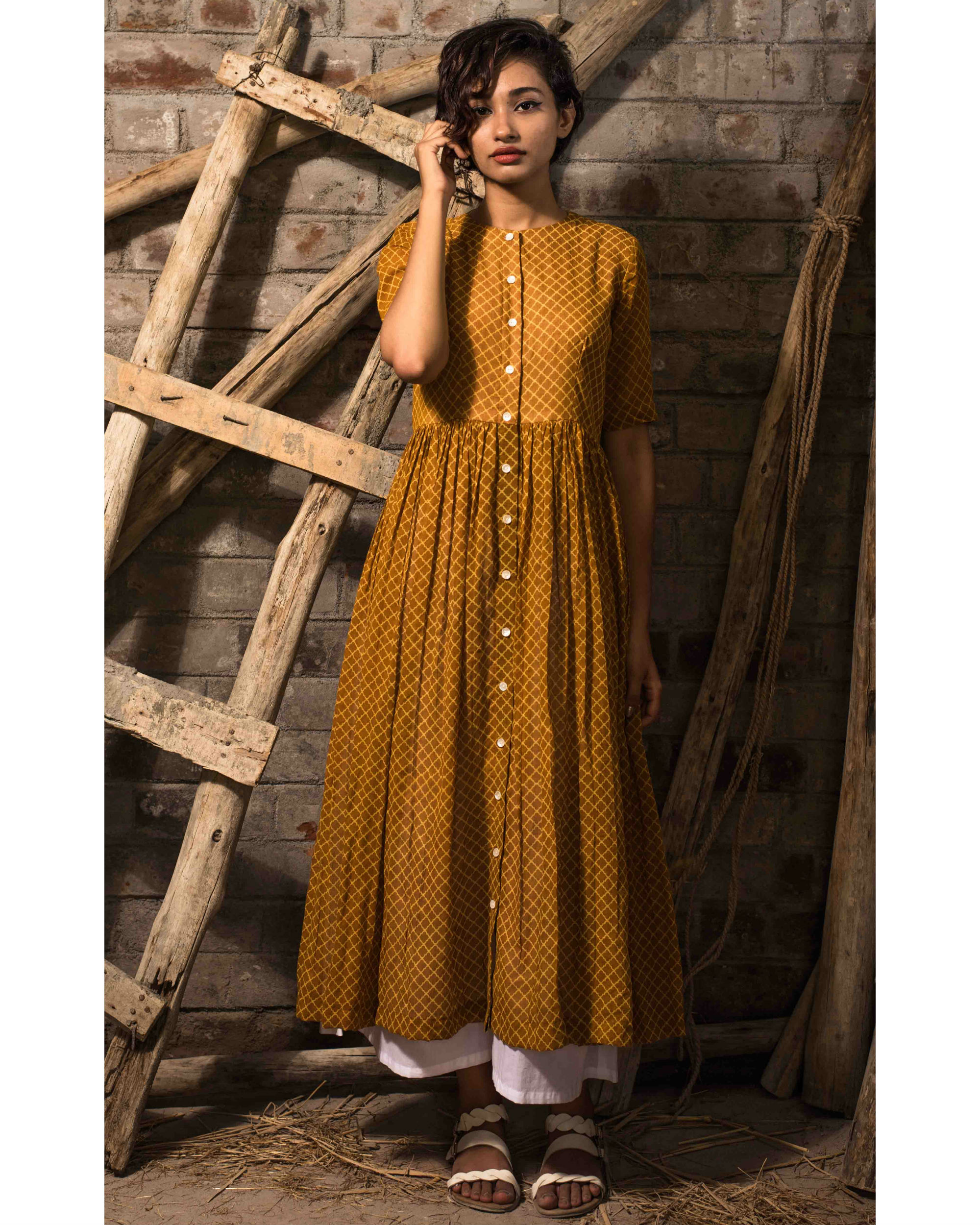 Mustard pleated tunic