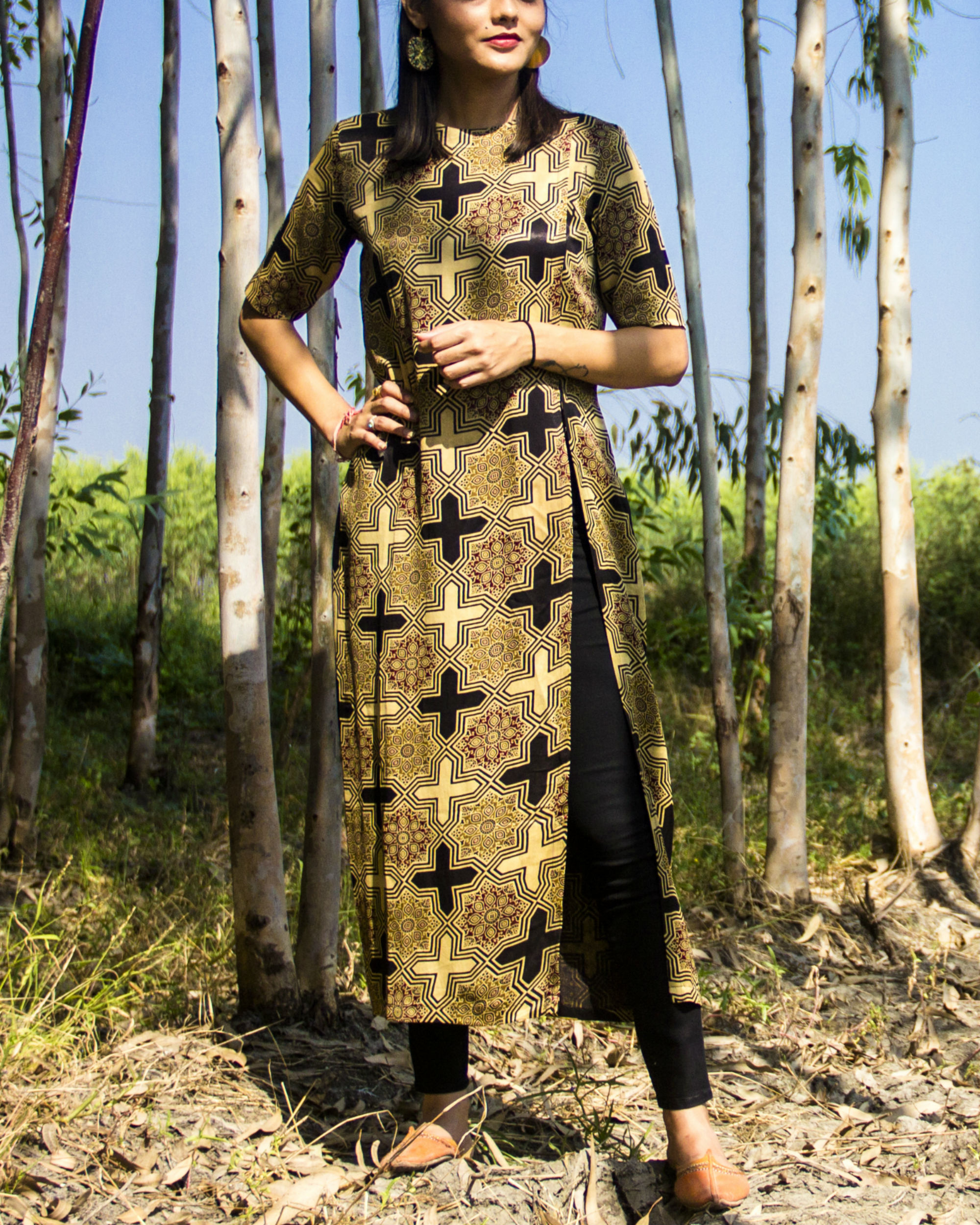Brown ajrakh side slit tunic