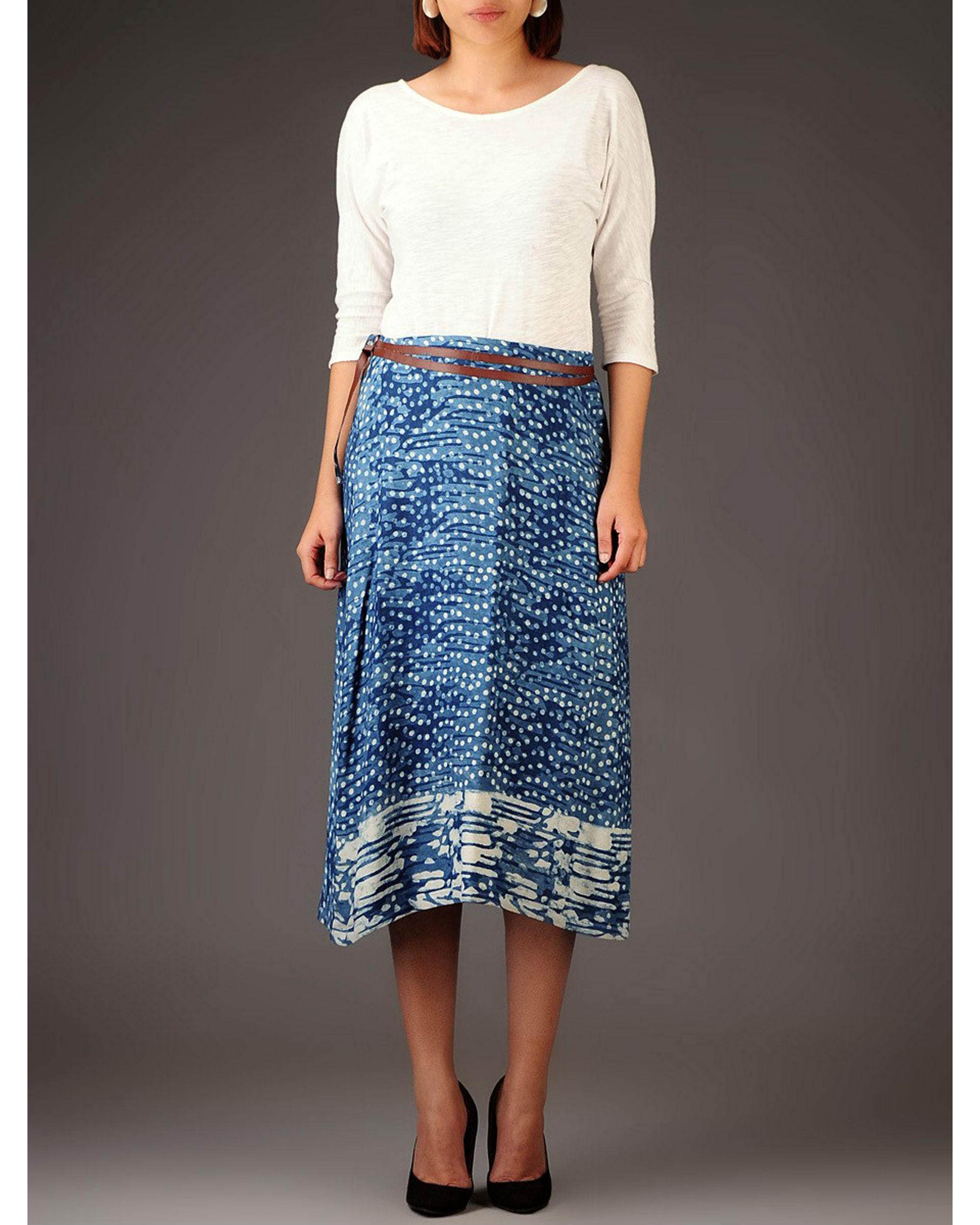 Indigo wrap skirt with pockets