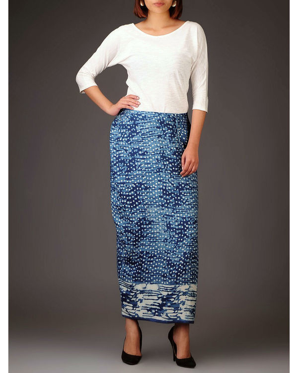 Indigo side slit skirt