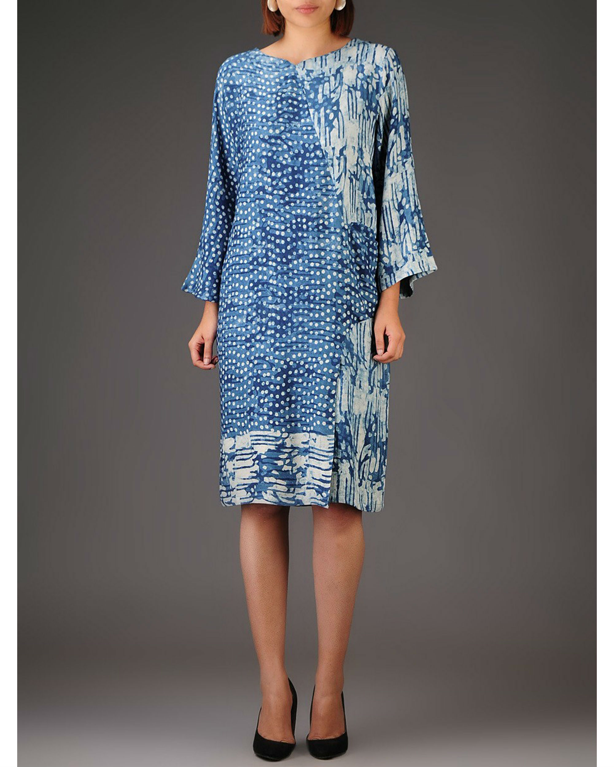 Indigo panelled dress