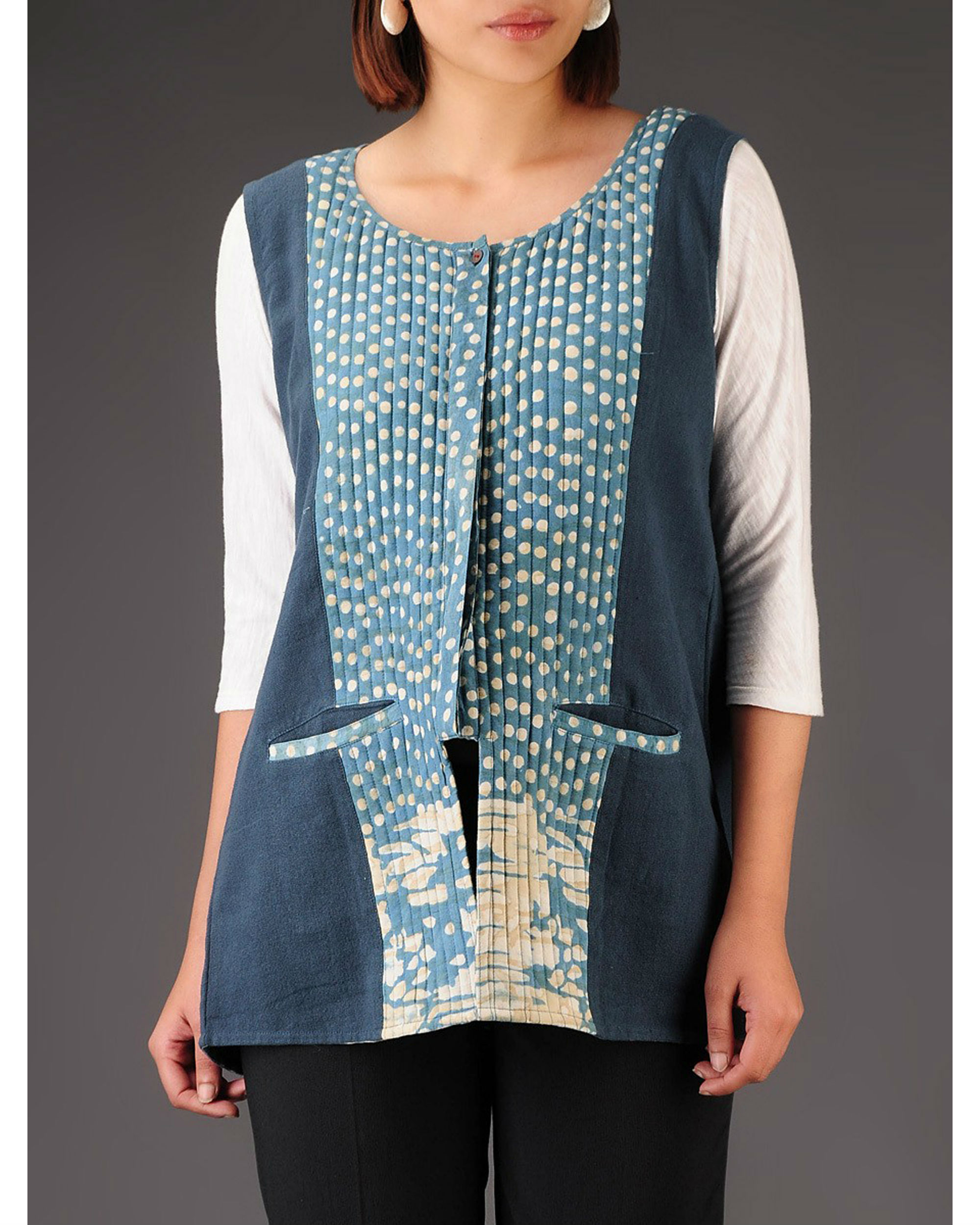 Blue khadi jacket