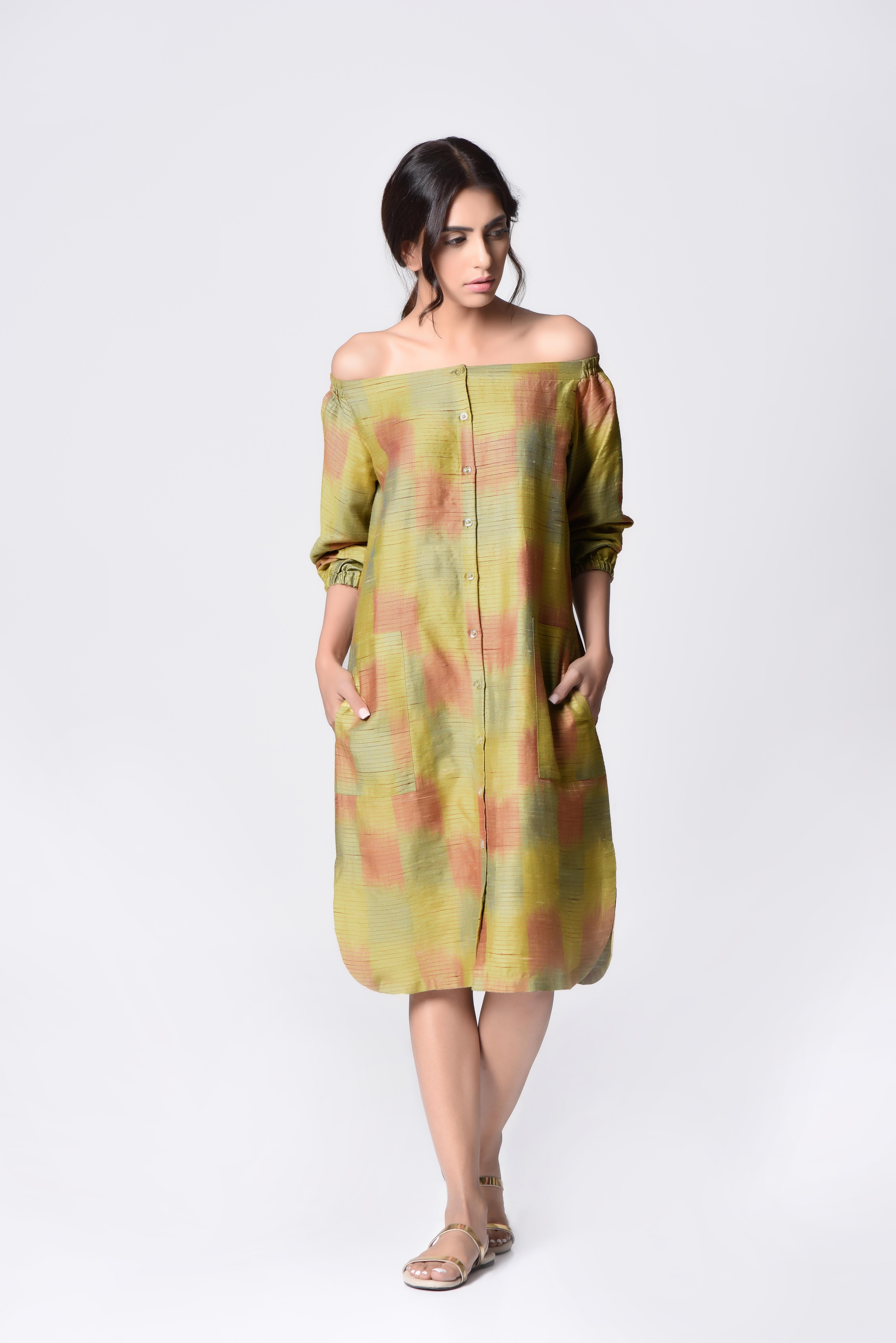 Pastel off shoulder dress