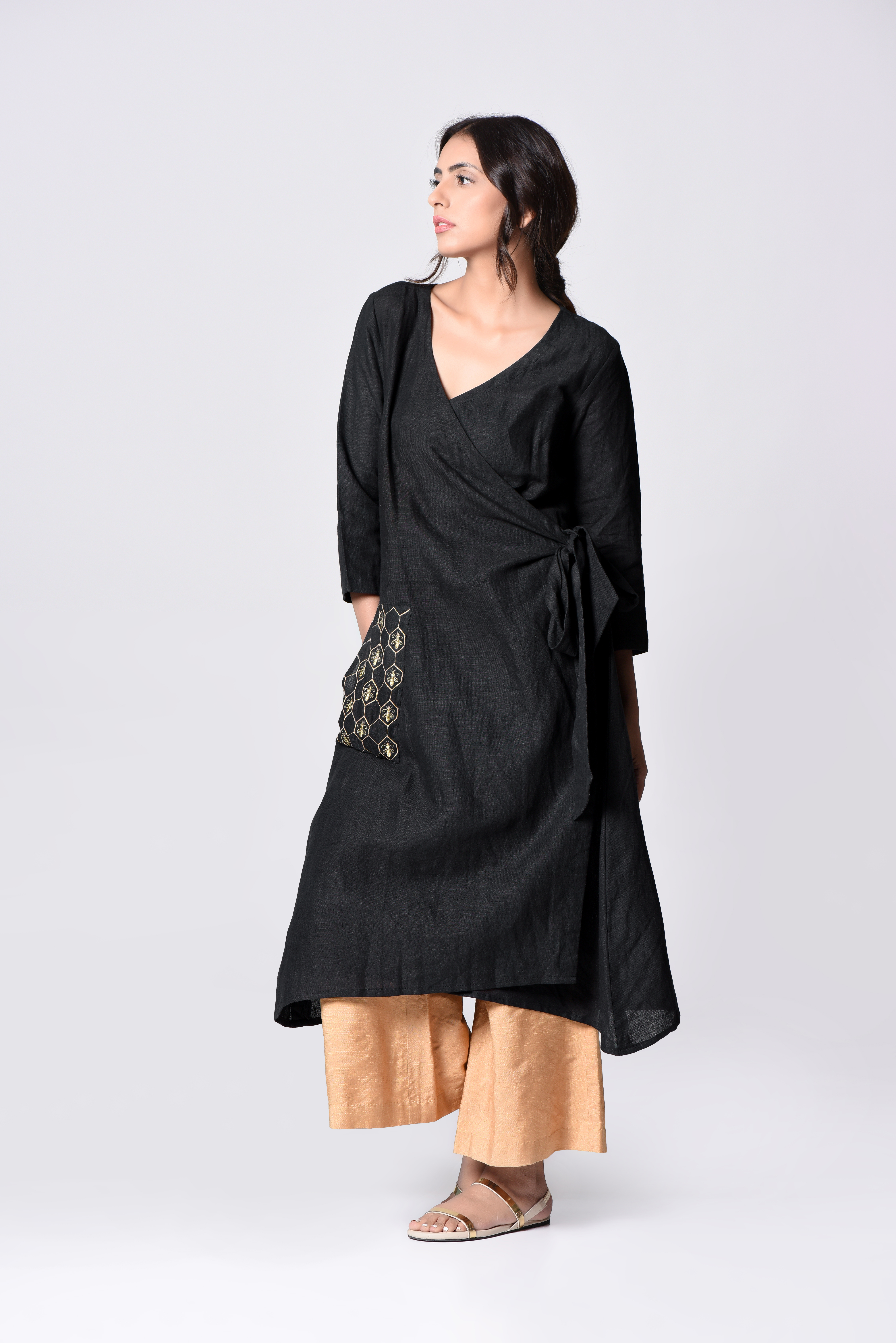 Black embroidered wrap tunic
