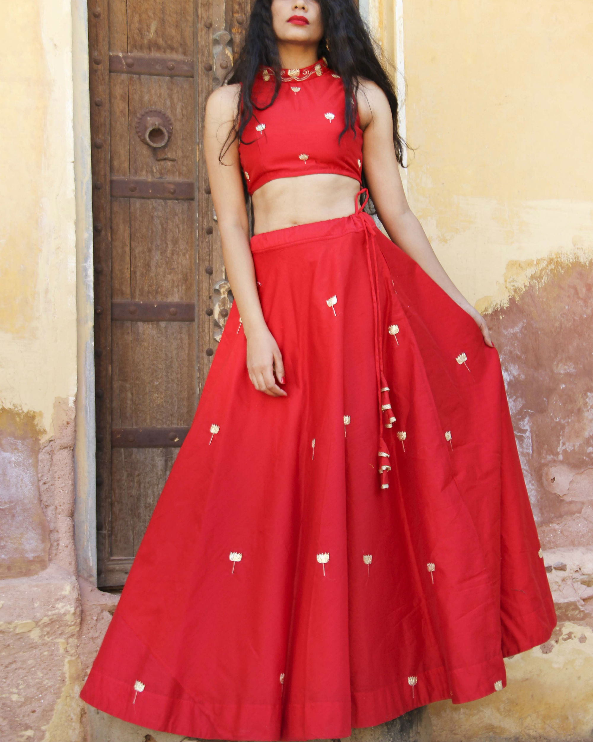 Red chanderi lehenga set