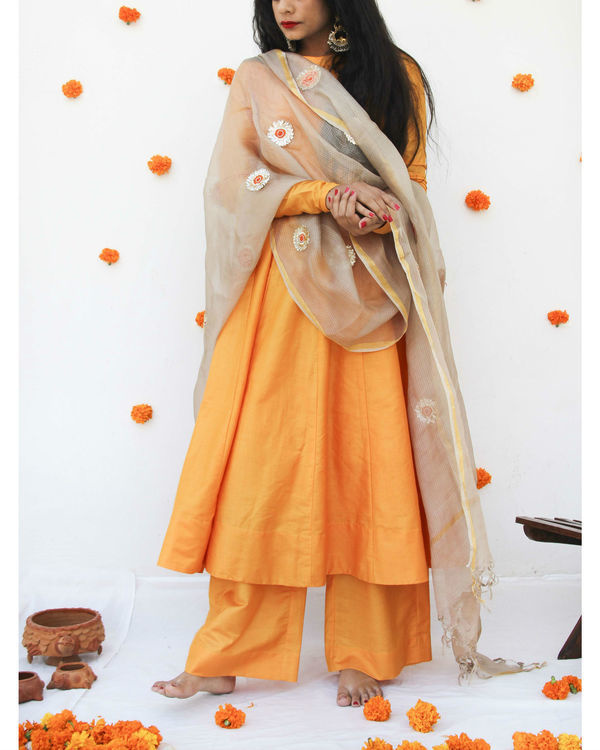Golden silk dupatta