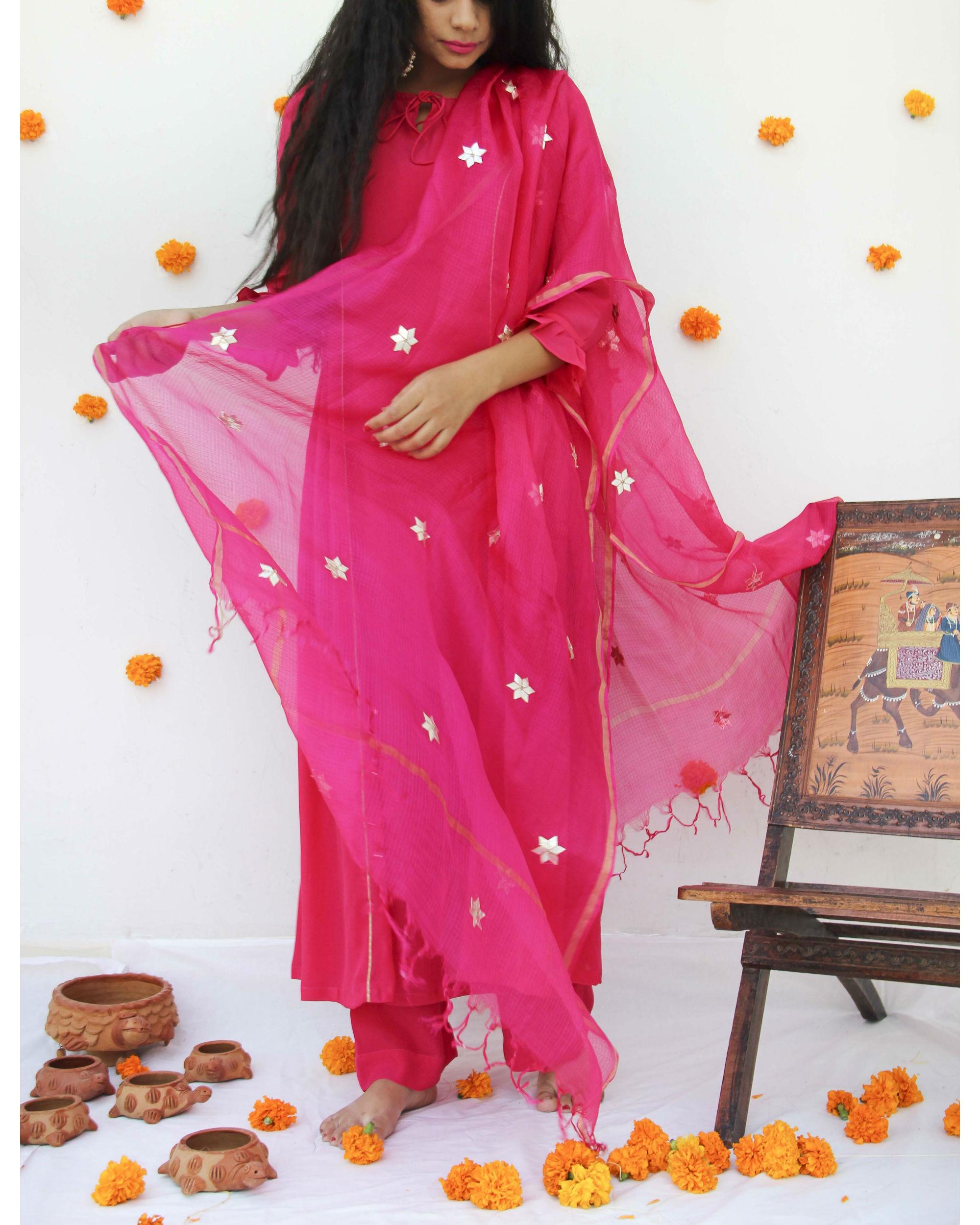 bfad0009665349 Fuchsia silk dupatta by BAISE GABA   The Secret Label