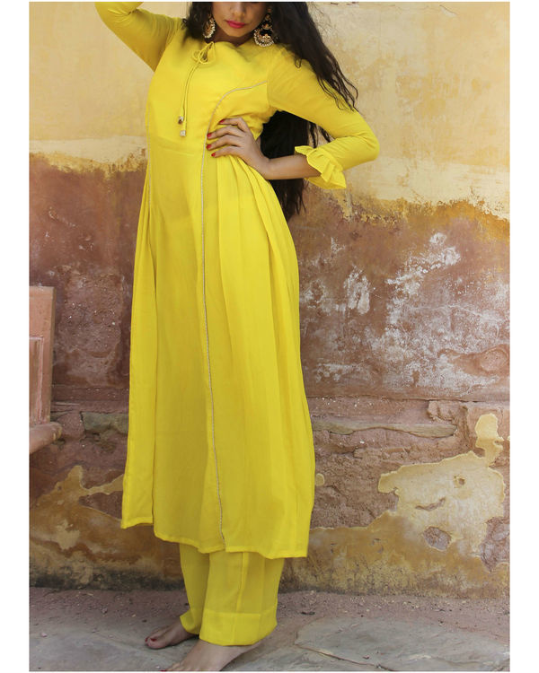 Yellow crepe suit set