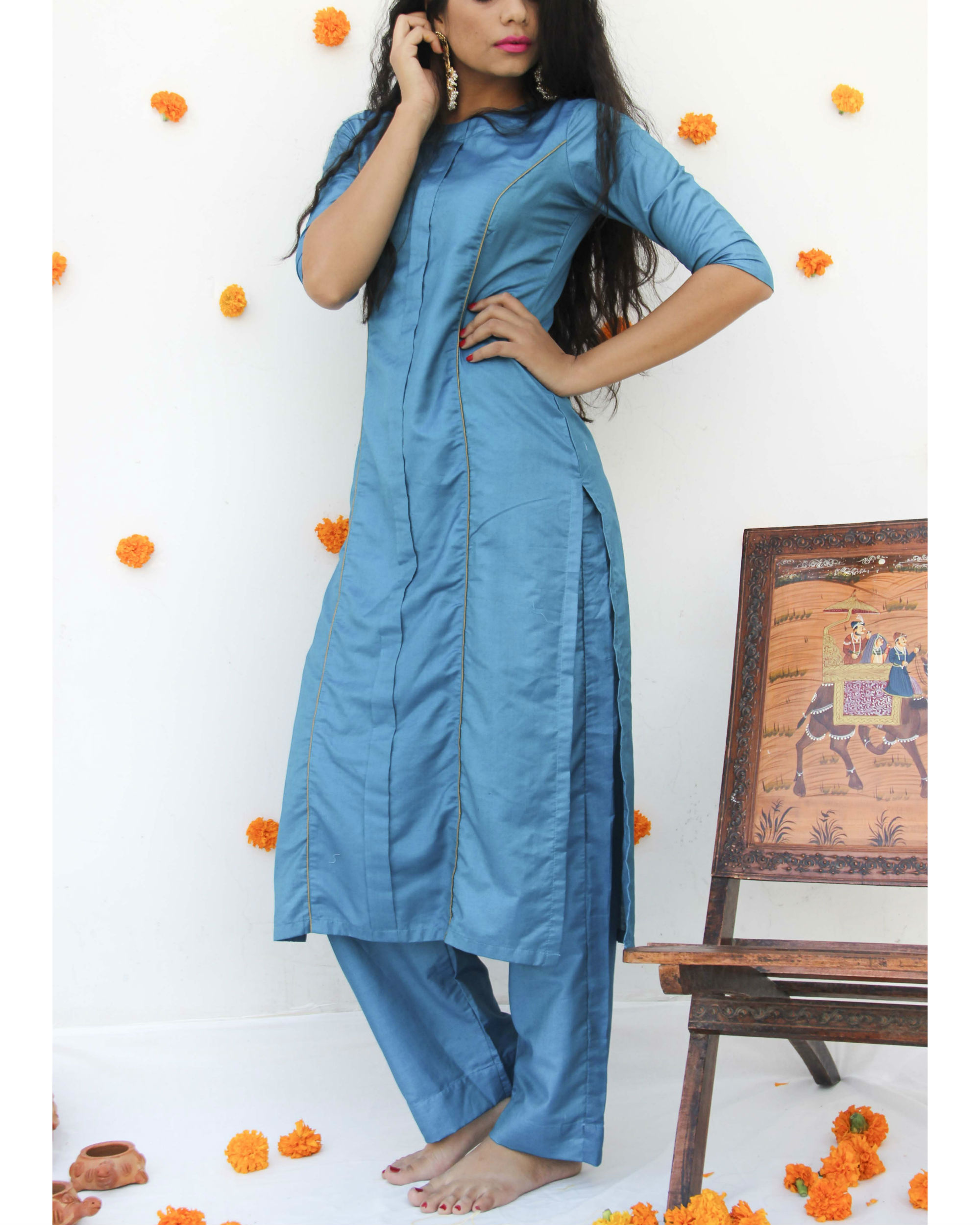Turquoise silk suit set