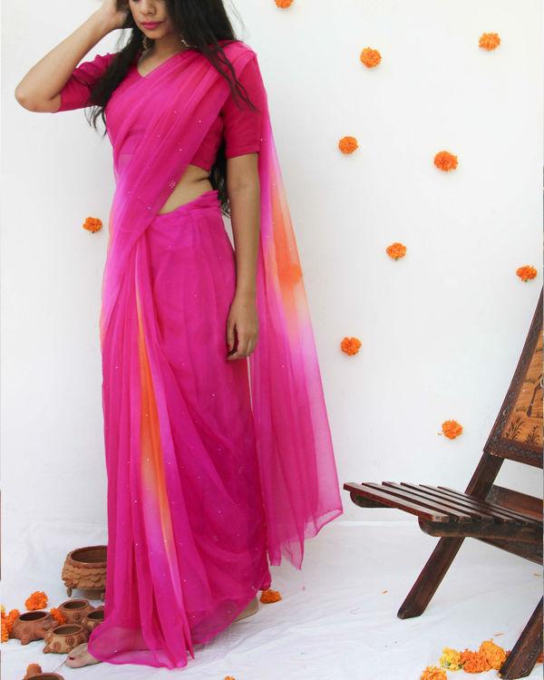 Pink orange georgette sari