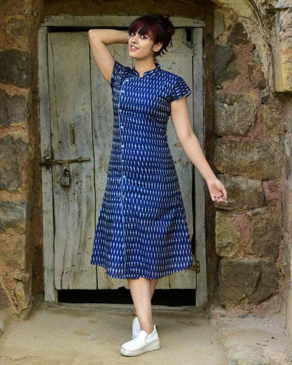 Navy asymmetrical ikat dress