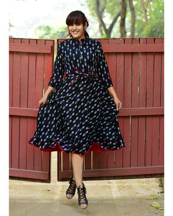 Black ikat midi dress