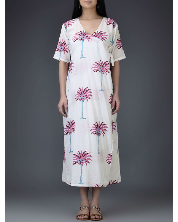 Pink palm wrap dress