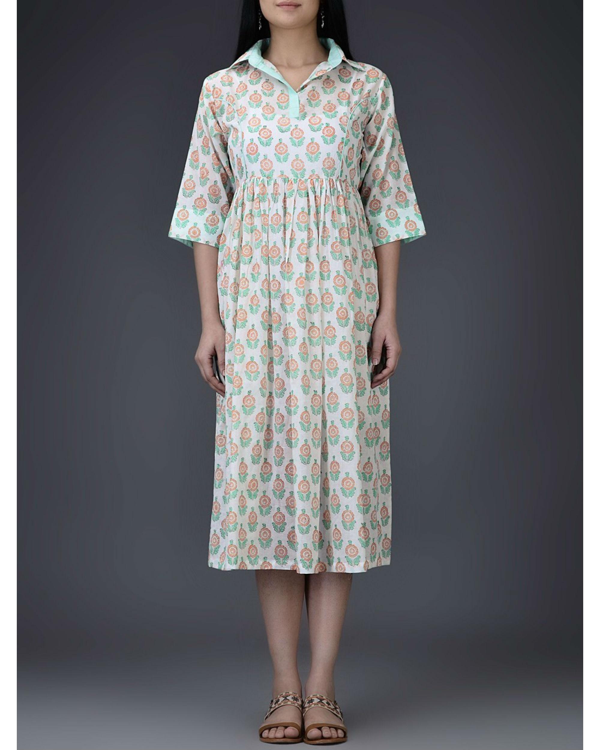 Turquoise gathered dress
