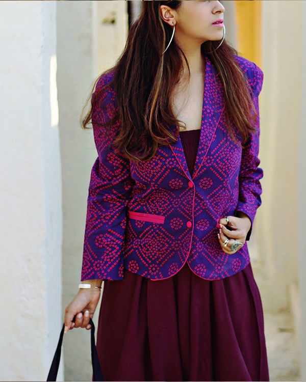 Purple bandhej blazer
