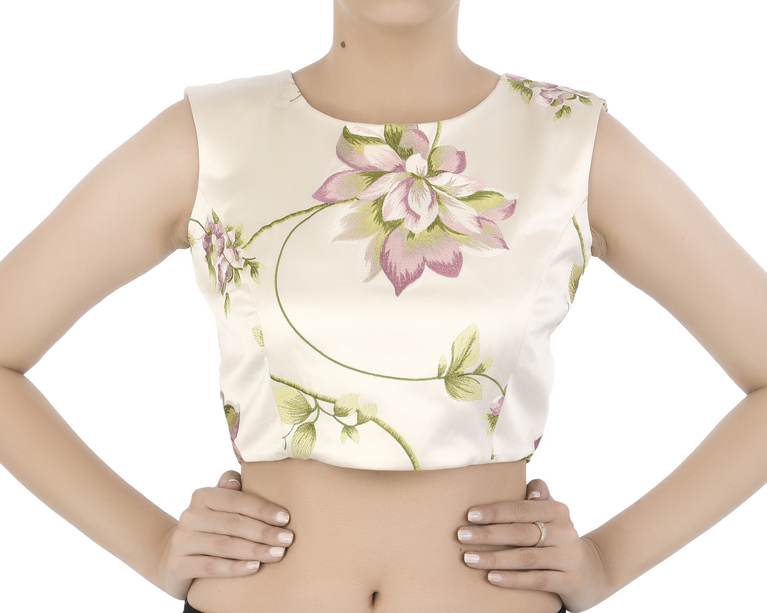 Foral embroidered satin crop top
