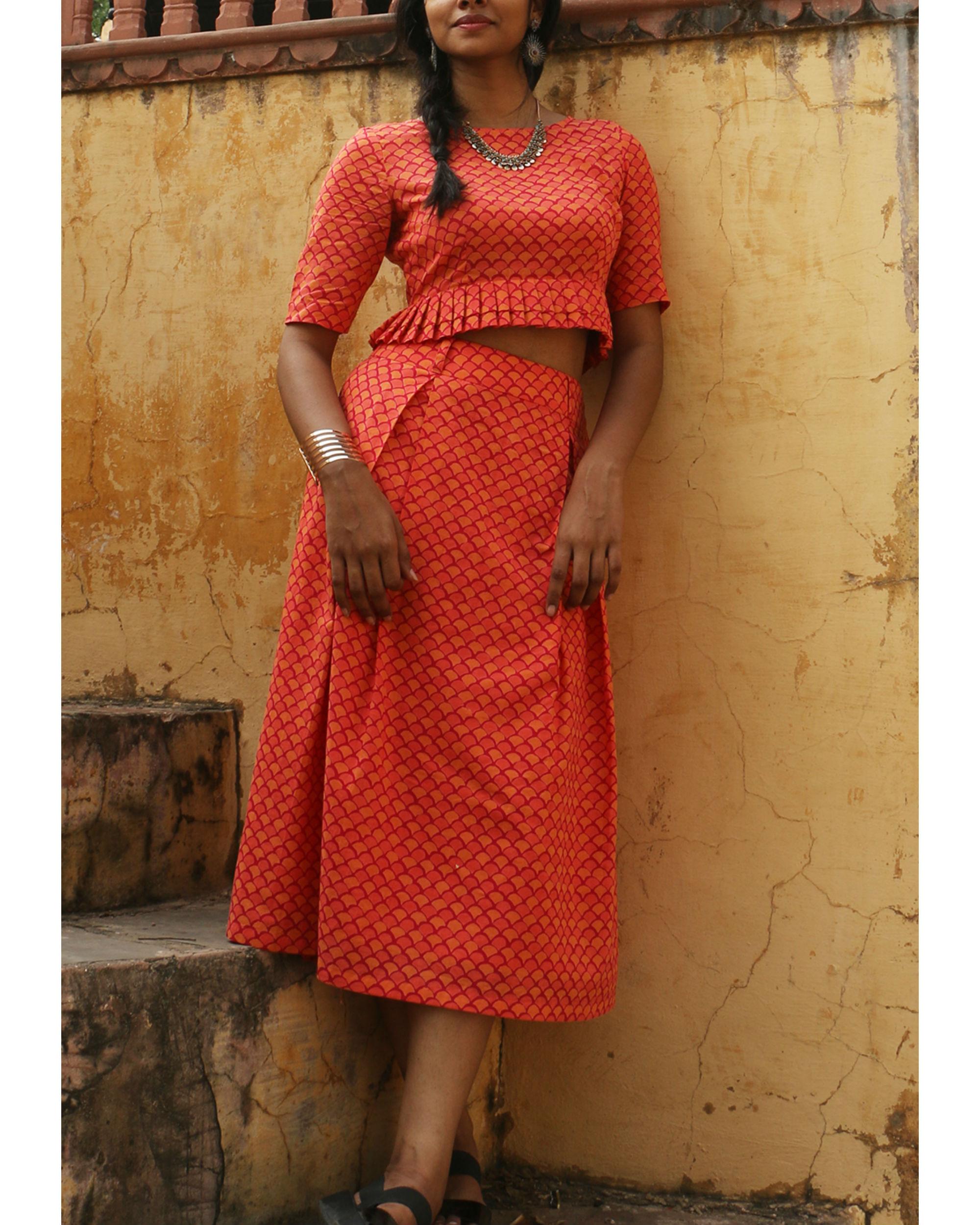 Boho red box skirt