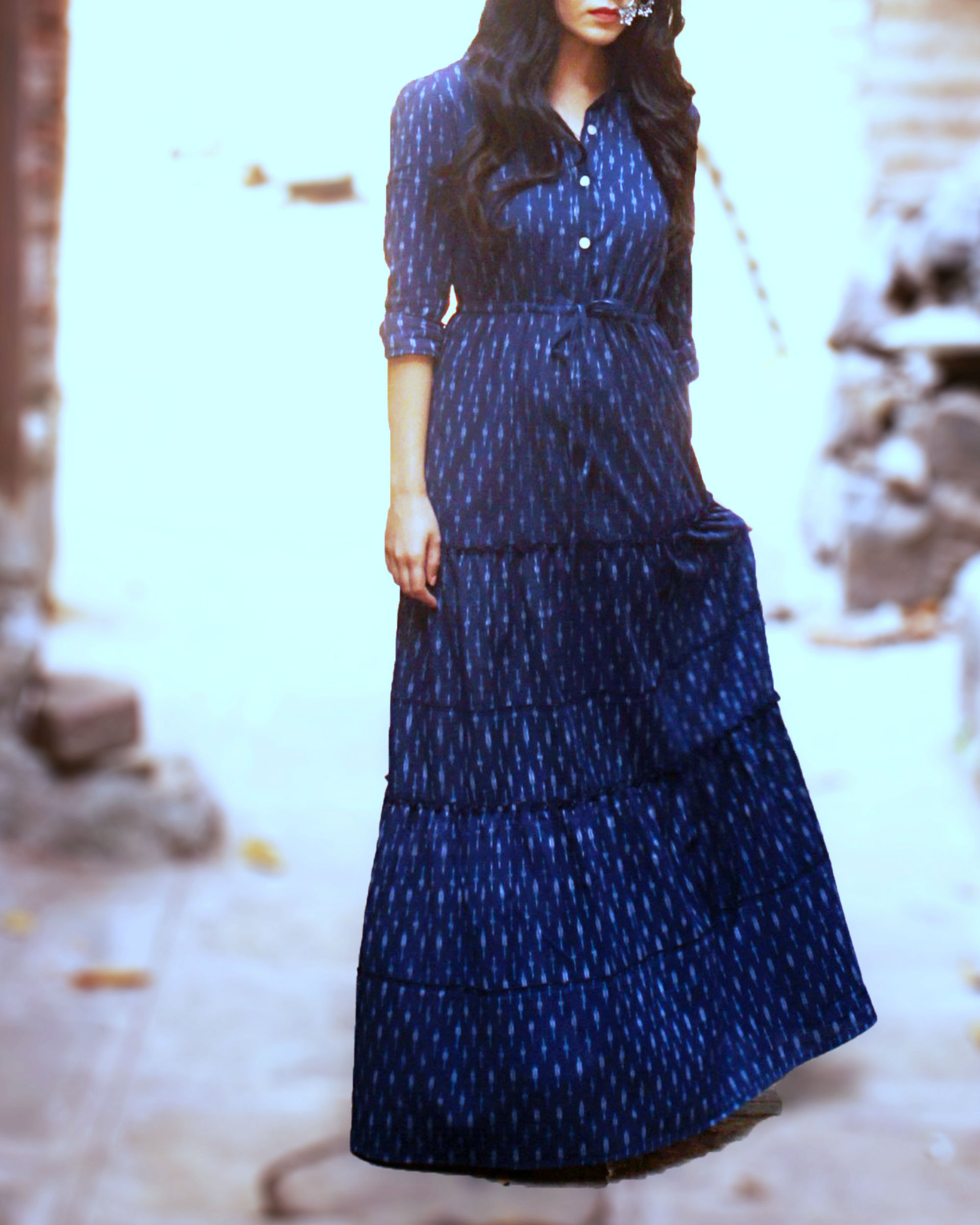 Indigo ikat shirt dress