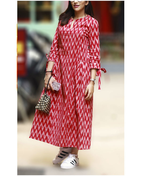 Red ikat pleated dress
