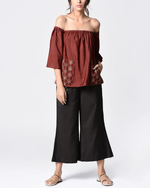 Marsala embroidered top