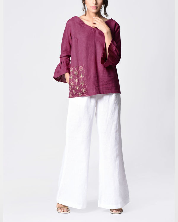 Plum embroidered bell top