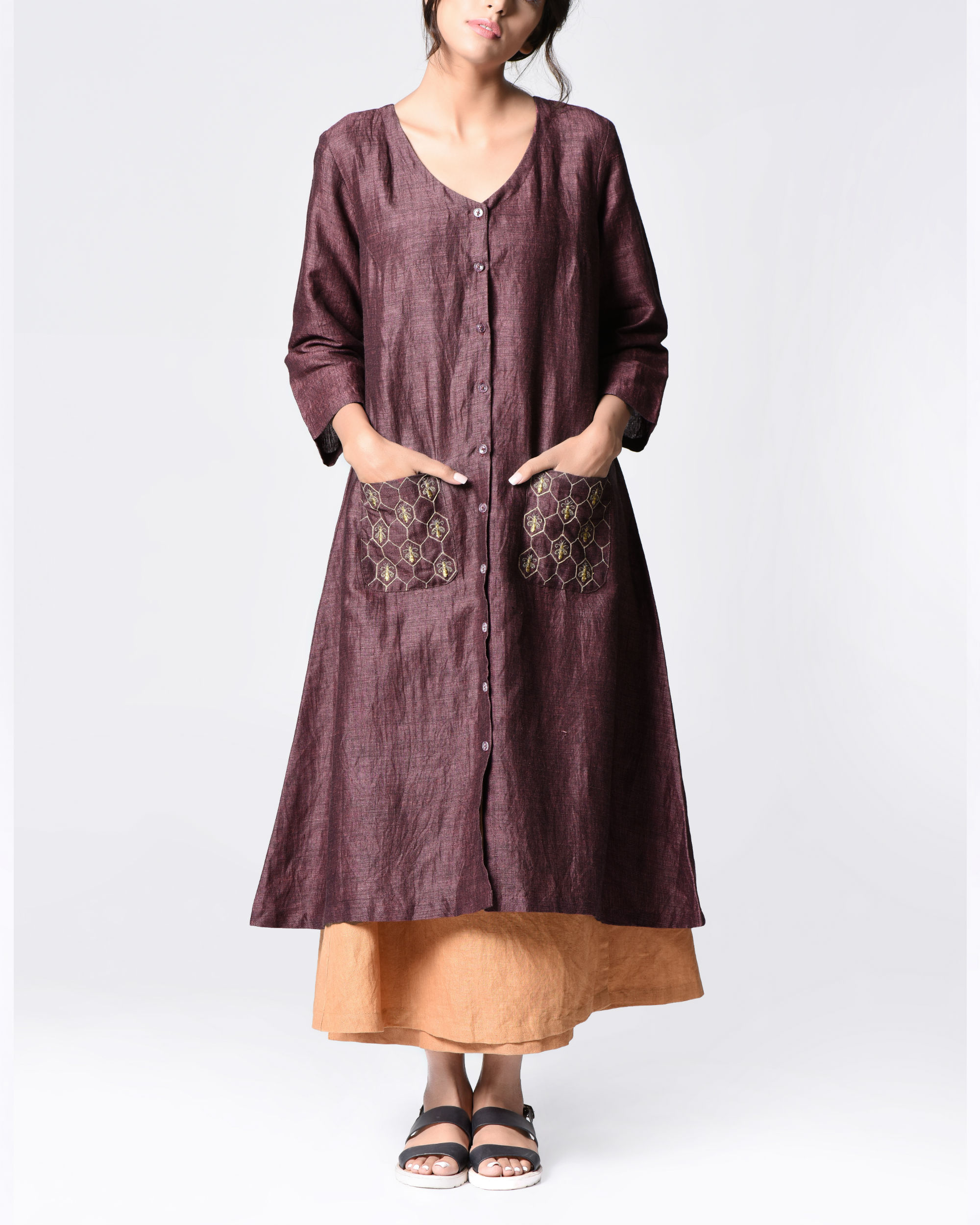 Plum embroidered shirt tunic