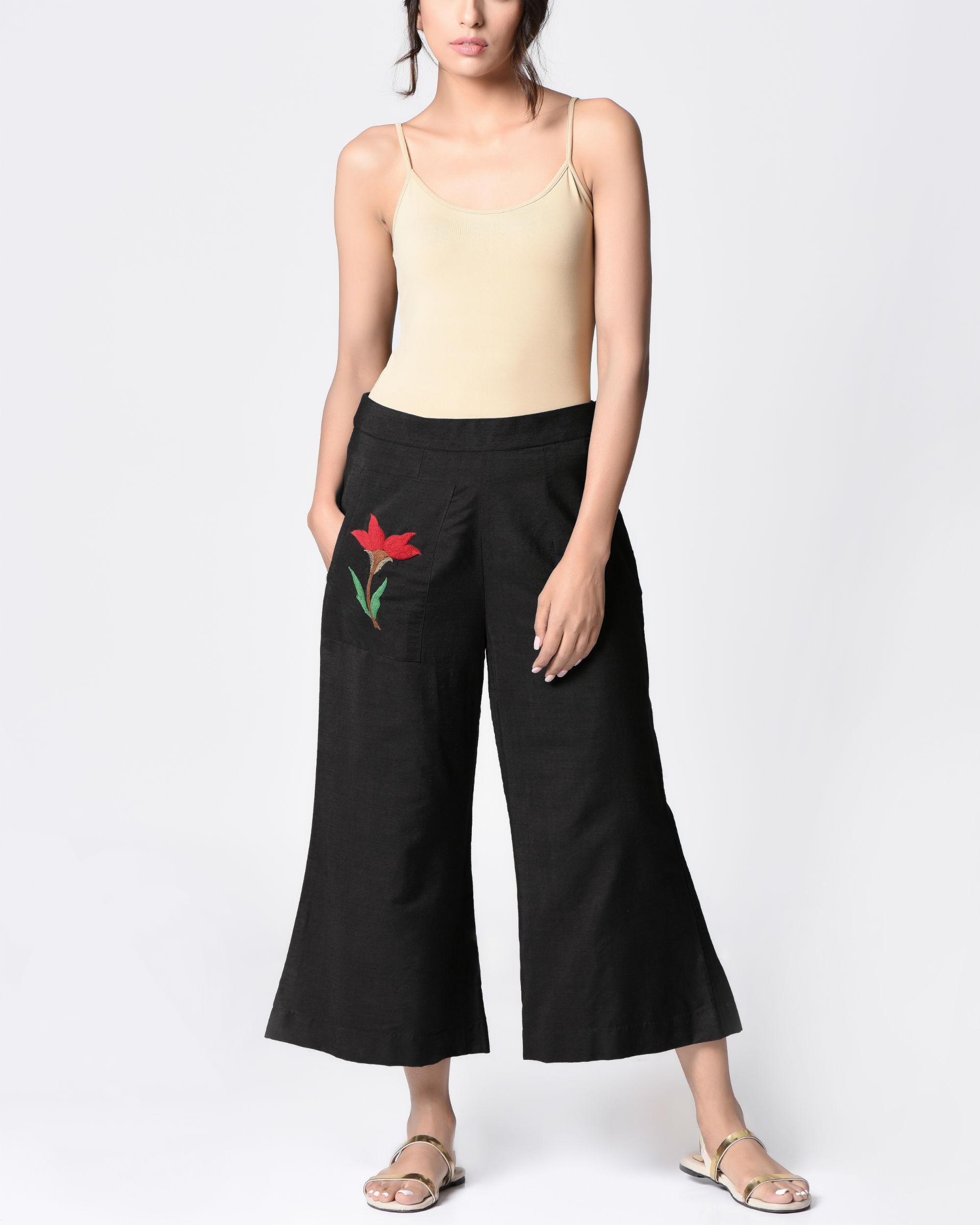 Block cotton trousers