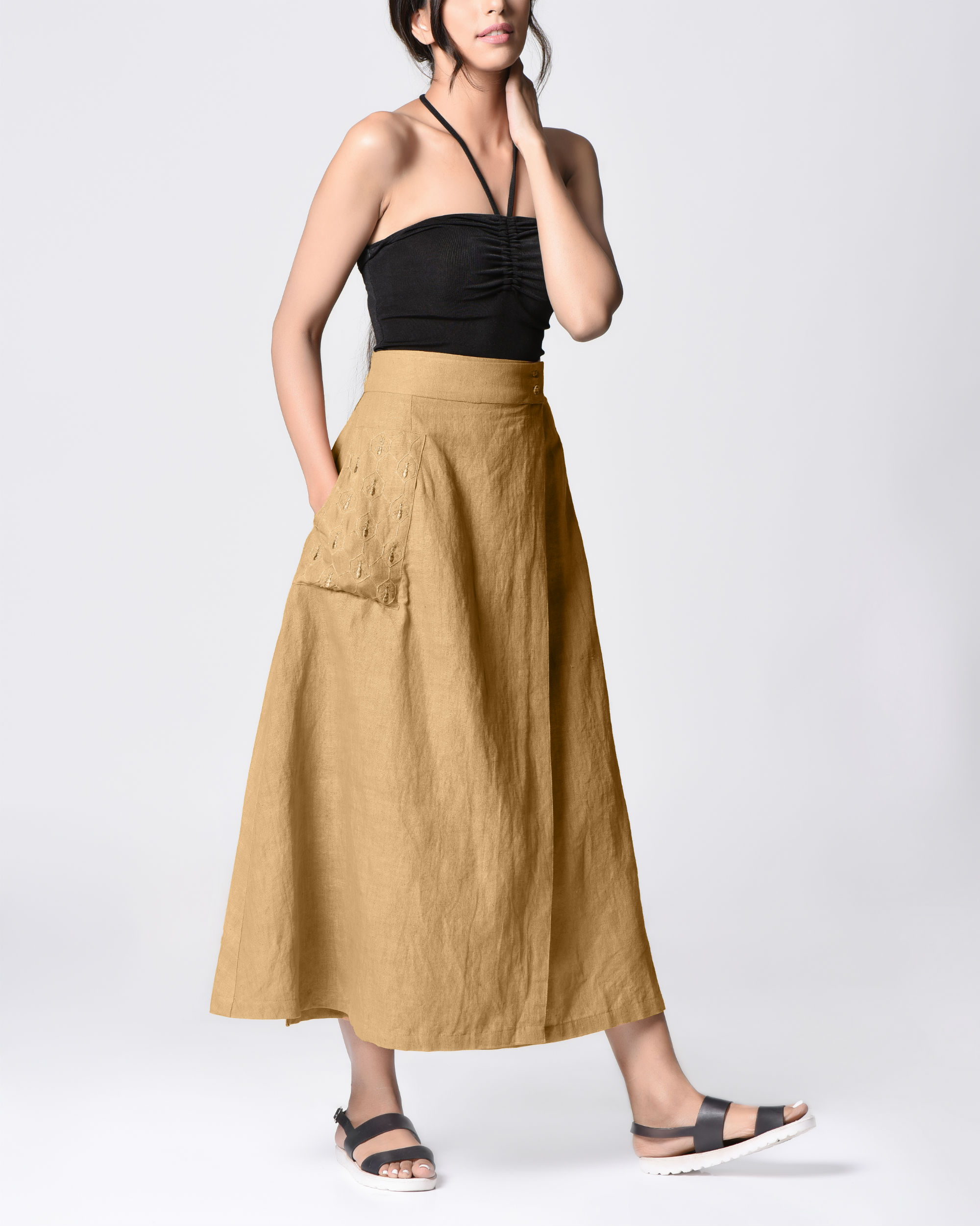 Beige embroidered wrap skirt