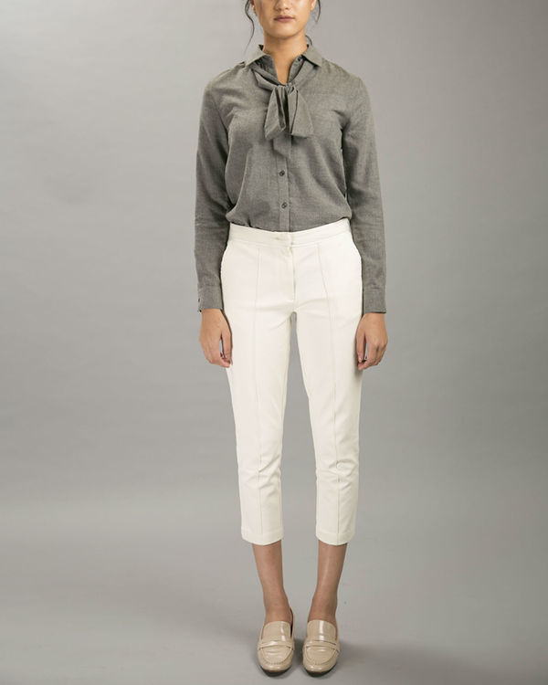 White pintuck trousers
