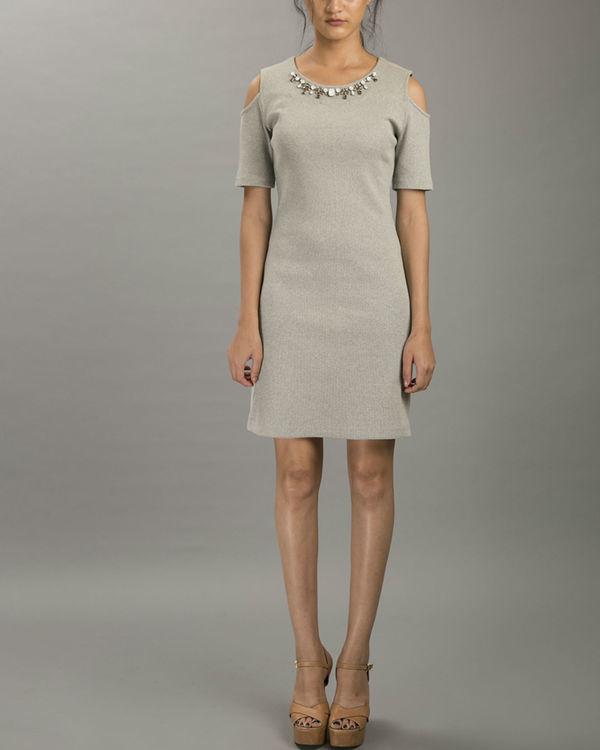 Melange cold shoulder dress