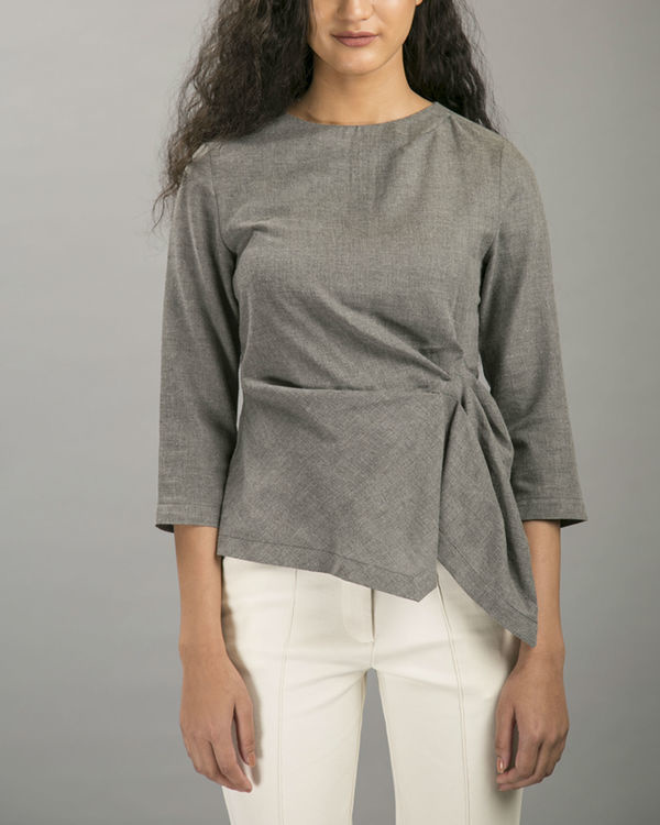 Charcoal layover blouse