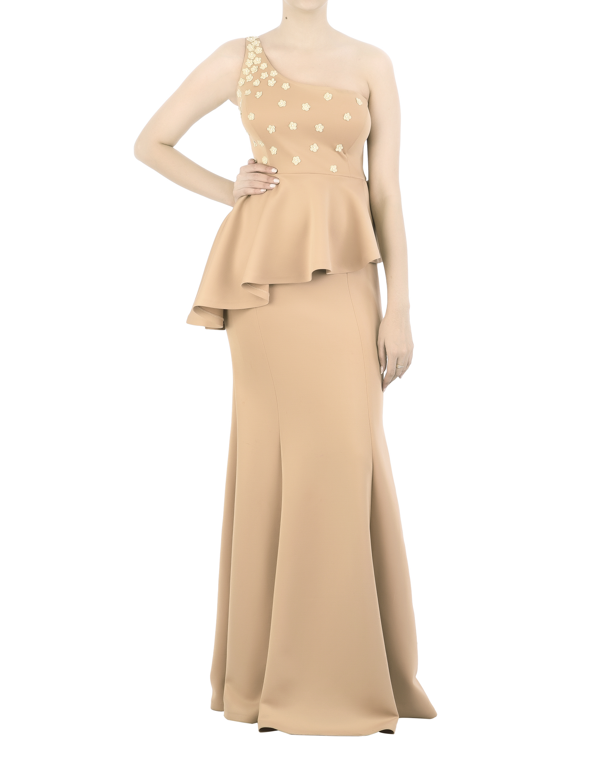 Neoprene off-shoulder gown with floral applique bodice