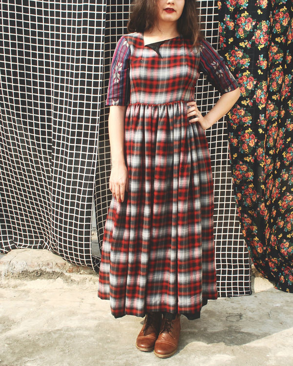 Tartan peasant dress