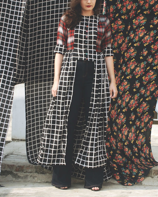 Black grid tunic