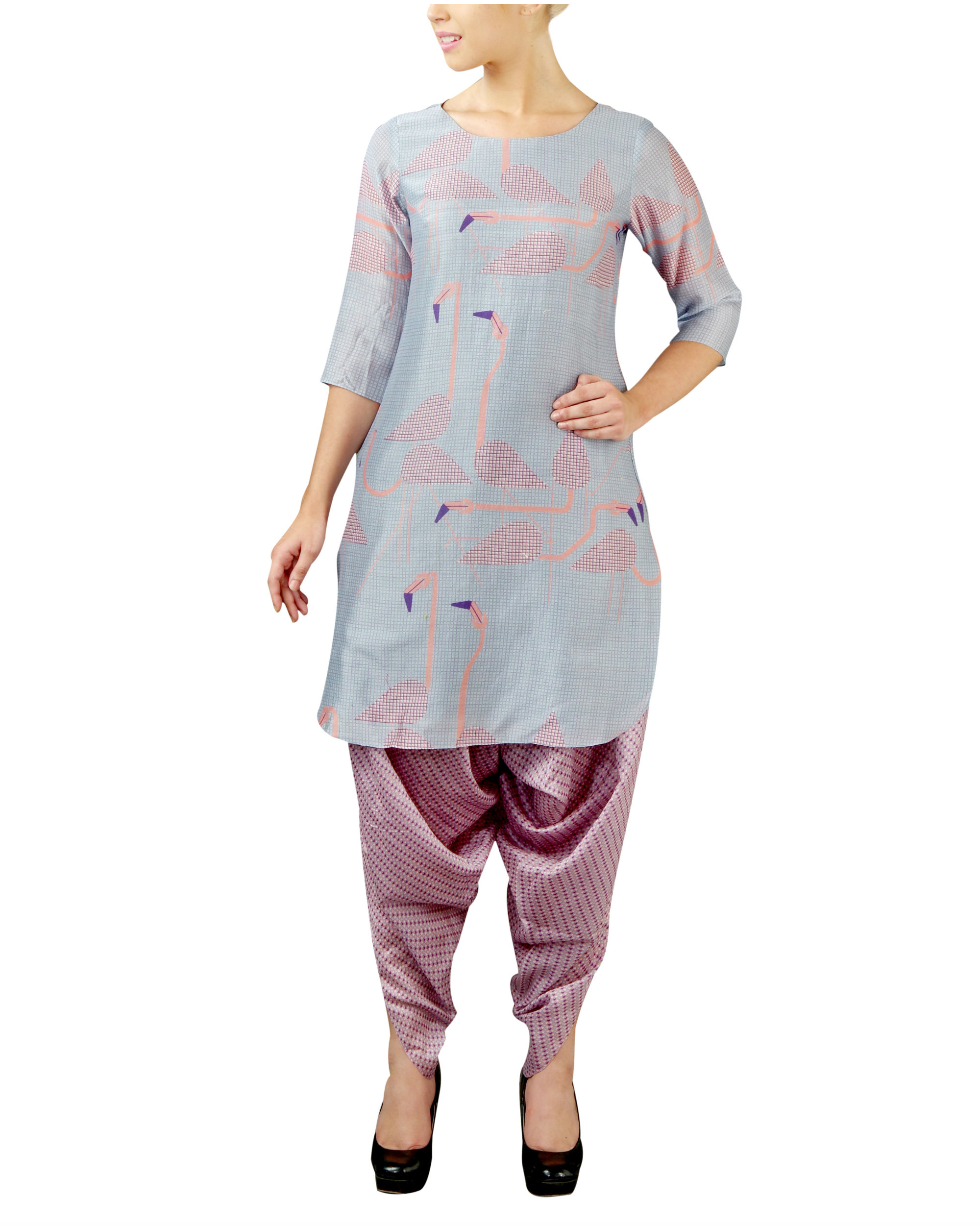 Flamingo blue kurta set